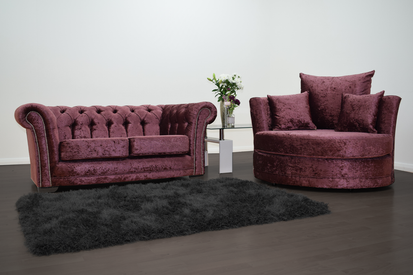 cb101be14a3a Anna Chesterfield 2 Seater and Cuddle Chair in Mulberry