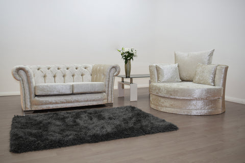 Anna Chesterfield 2 Seater and Cuddle Chair in Cream - Mirrored furniture - Sparkle Diamond - House of Sparkles