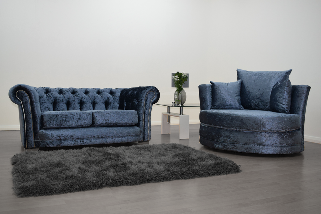 Anna Chesterfield 2 Seater and Cuddle Chair in Blue | HOS Home | Mirrored furniture | Affordable Luxury