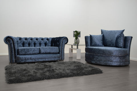 Anna Chesterfield 2 Seater and Cuddle Chair in Blue - Mirrored furniture - Sparkle Diamond - House of Sparkles