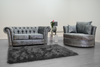 Anna Chesterfield 2 Seater and Cuddle Chair in Silver - Mirrored furniture - Sparkle Diamond - House of Sparkles