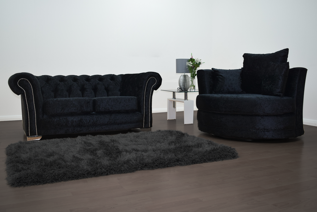 Anna Chesterfield 2 Seater and Cuddle Chair in Black | HOS Home | Mirrored furniture | Affordable Luxury