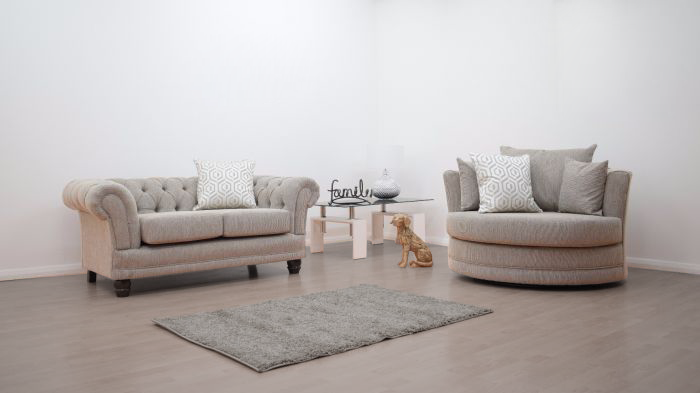 Anna Chesterfield 2 Seater and Cuddle Chair in Biscuit - Mirrored furniture - Sparkle Diamond - House of Sparkles