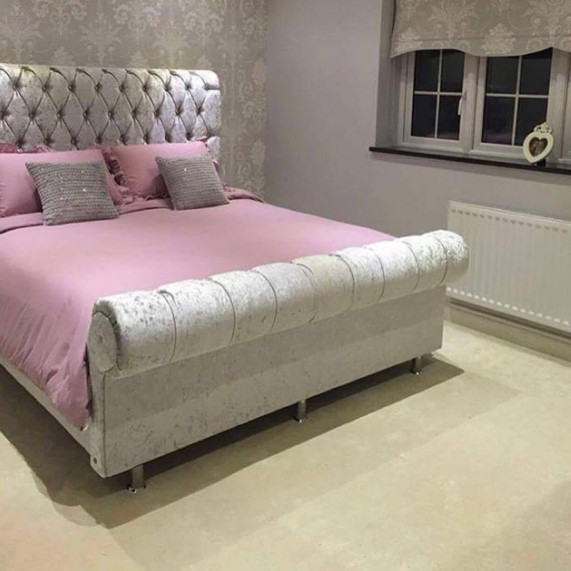 the crown sleigh bed mirrored furniture sparkle diamond house of sparkles