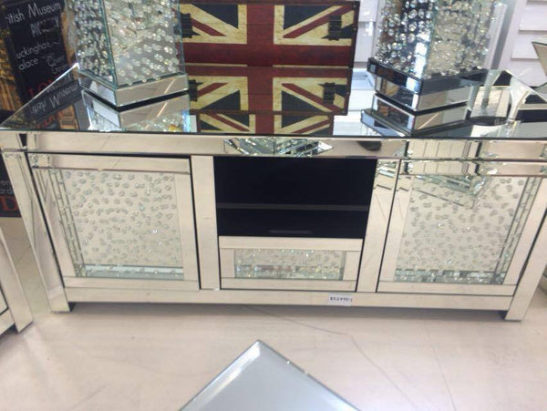 Floating Crystal Mirrored Media Unit House Of Sparkles
