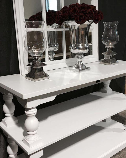 Arlington Console Table in White - Mirrored furniture - Sparkle Diamond - House of Sparkles
