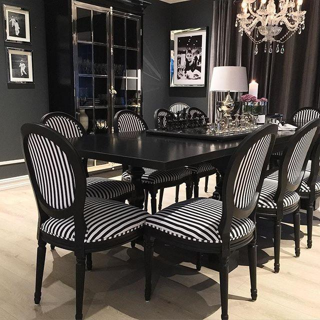 Arlington Dining Table in Black - Mirrored furniture - Sparkle Diamond - House of Sparkles