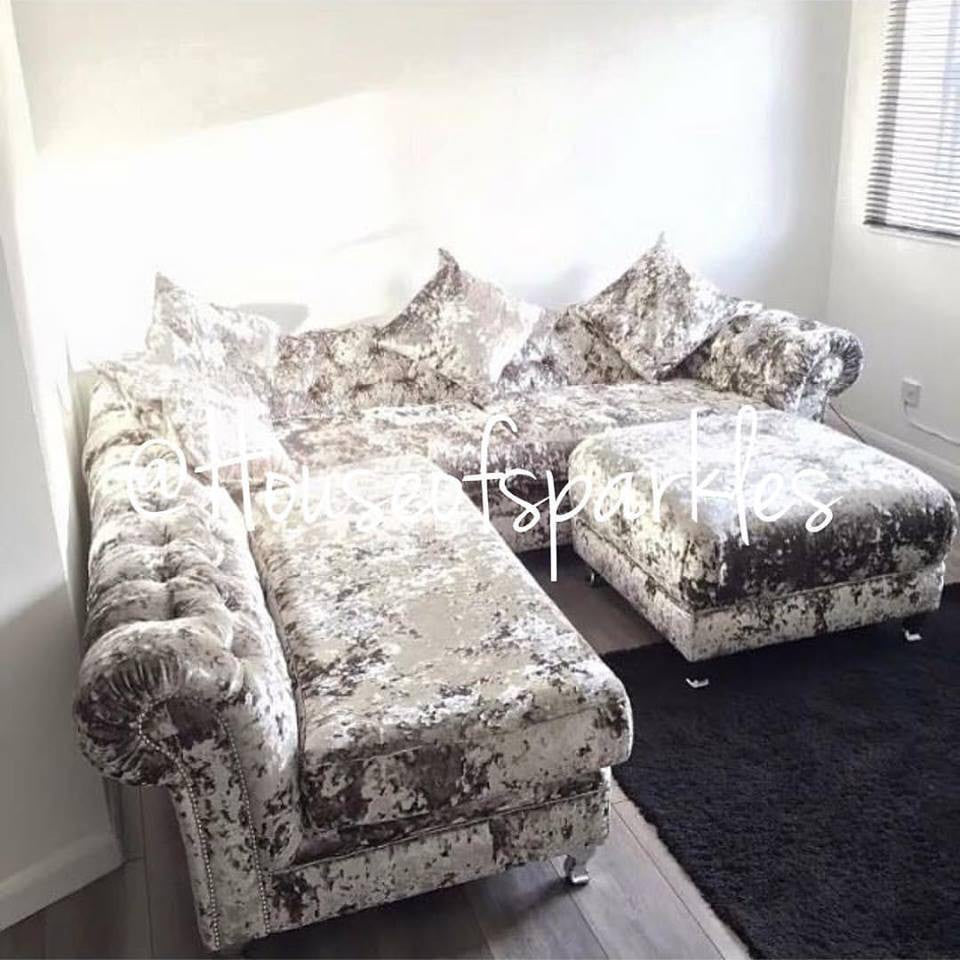 The Diana Crushed Velvet Corner Suite   Mirrored Furniture   Sparkle  Diamond   House Of Sparkles ...