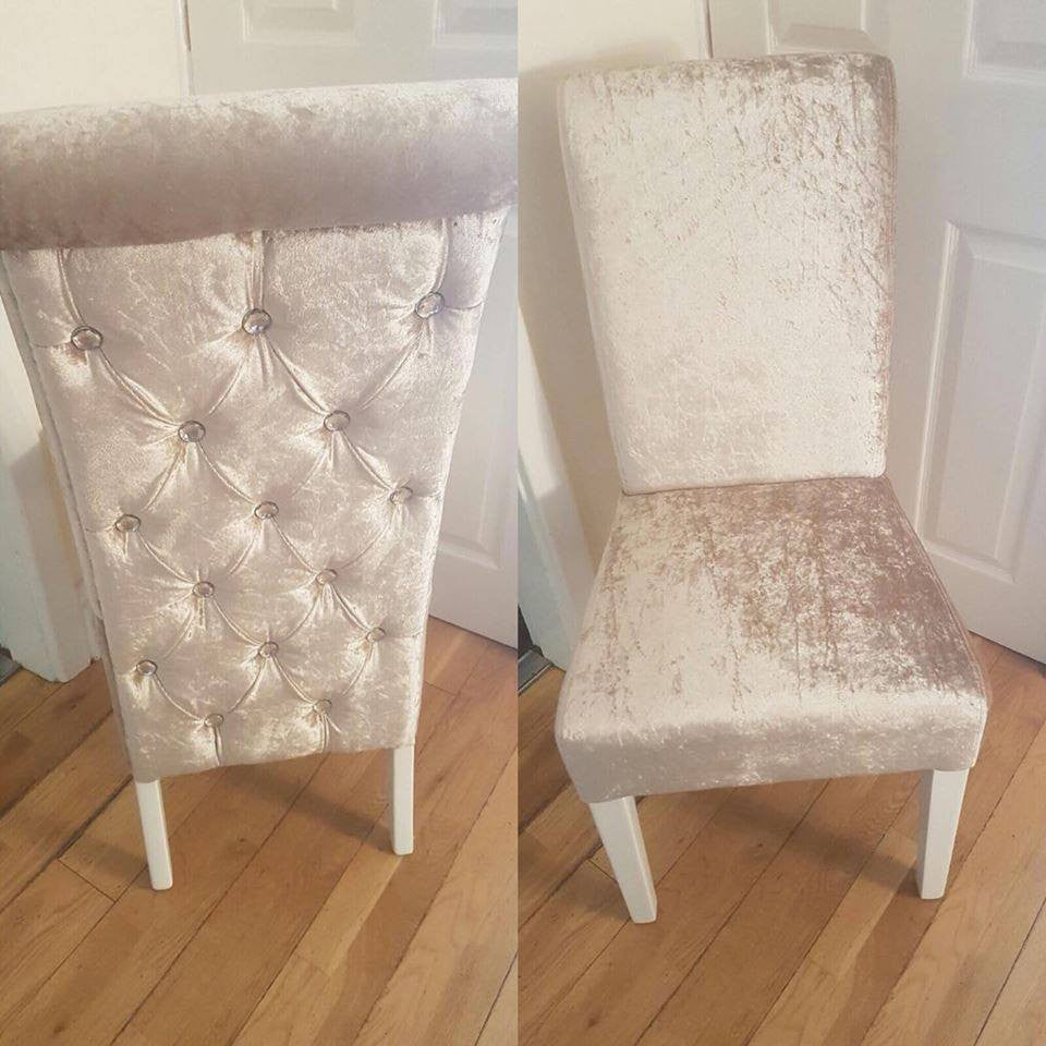 Chesterfield diamond long back dining chairs in crushed for Long back dining chairs