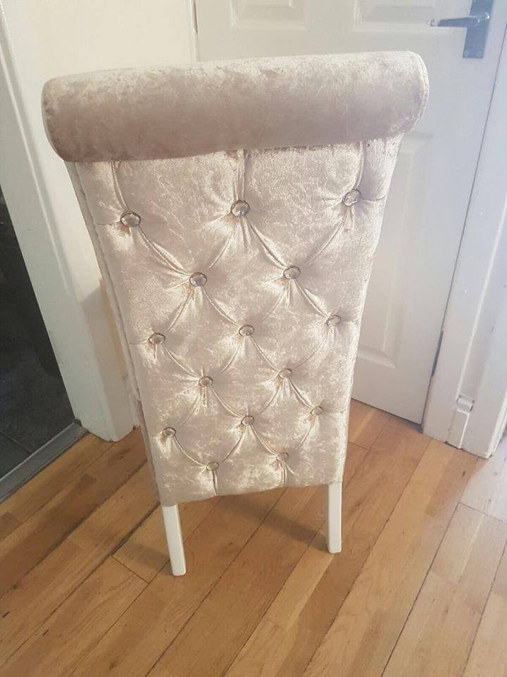 Luxury Button Back Dining Chairs - Mirrored furniture - Sparkle Diamond - House of Sparkles