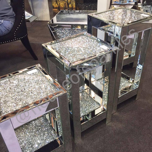 Diamond Crush Medium Mirrored Side Table | HOS Home | Mirrored furniture | Affordable Luxury