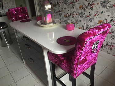 Plain Top Lion Knocker Bar Stool - Mirrored furniture - Sparkle Diamond - House of Sparkles