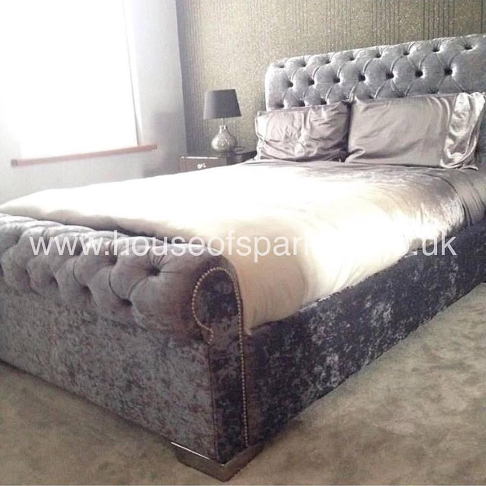 The California Sun Shine Bed - Mirrored furniture - Sparkle Diamond - House of Sparkles