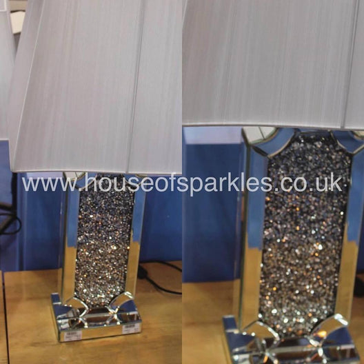 Diamond Crush Rectangular Table Lamp | HOS Home | Mirrored furniture | Affordable Luxury