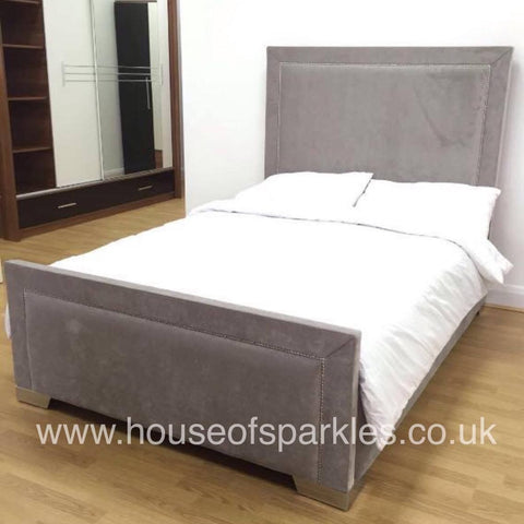 The Manhattan Velvet bed - Mirrored furniture - Sparkle Diamond - House of Sparkles