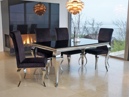 Skyline Black 6 Seater Dining Set - Mirrored furniture - Sparkle Diamond - House of Sparkles