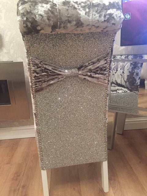 ***Glitter Back Luxury Dining Chairs - Mirrored furniture - Sparkle Diamond - House of Sparkles