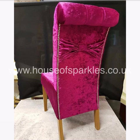Luxury Bow Back Dining Chairs - Mirrored furniture - Sparkle Diamond - House of Sparkles