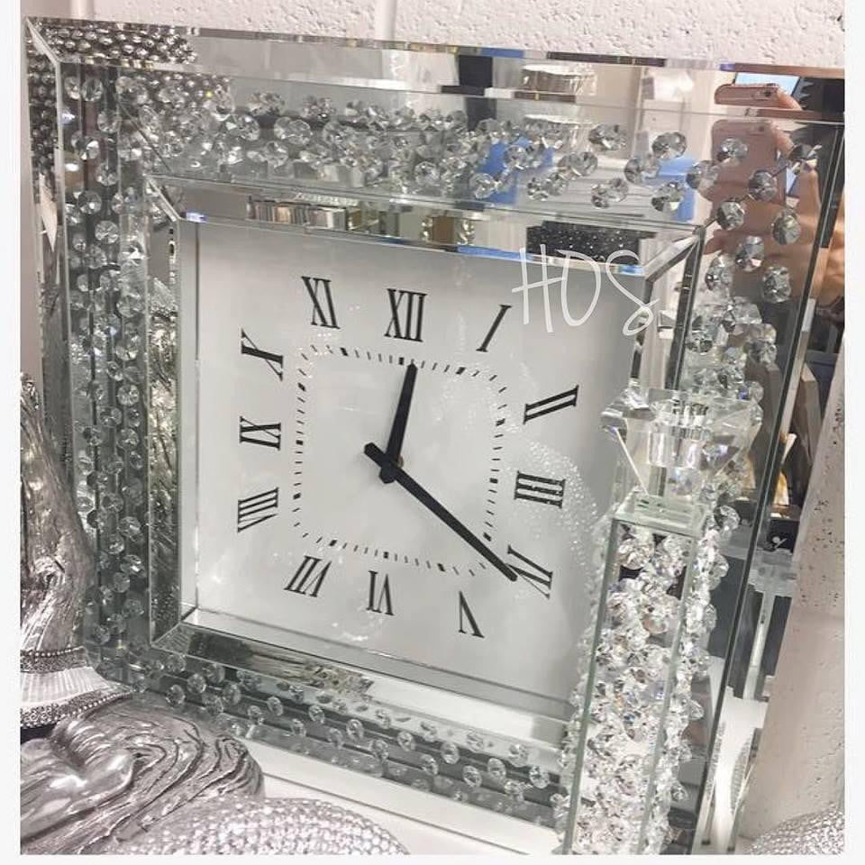 Floating Crystal Diamond Wall Clock - Mirrored furniture - Sparkle Diamond - House of Sparkles