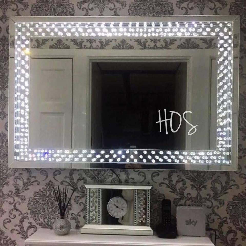 CRYSTAL DECOR LED FRAME MIRROR   Mirrored furniture   Sparkle Diamond    House of Sparkles. PRE ORDER FOR MARCH DELIVERY   Floating Crystal LED Wall Mirror