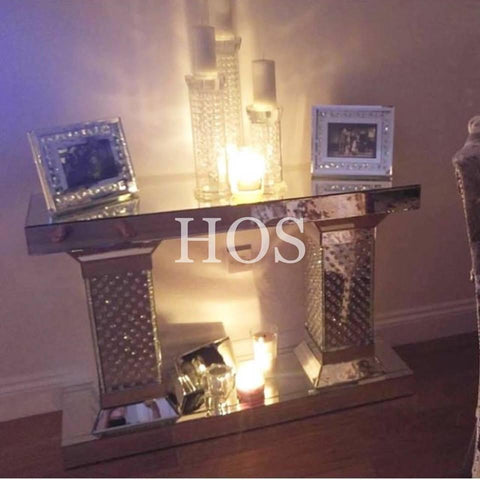 Floating Crystal Pillar Console Table - Mirrored furniture - Sparkle Diamond - House of Sparkles