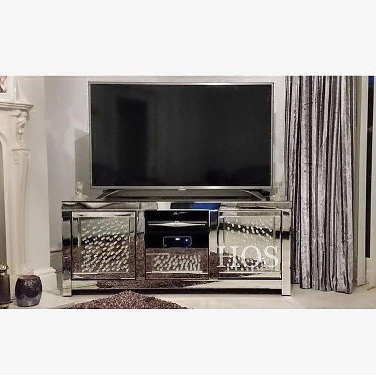... Floating Crystal Mirrored Media Unit   Mirrored Furniture   Sparkle  Diamond   House Of Sparkles ...