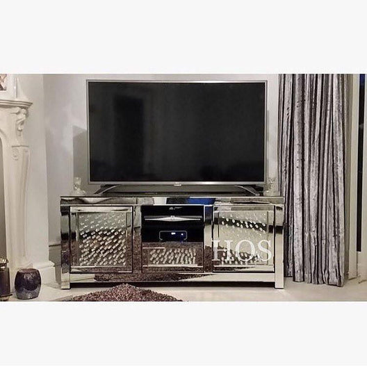Floating Crystal Mirrored Media Unit - Mirrored furniture - Sparkle Diamond - House of Sparkles