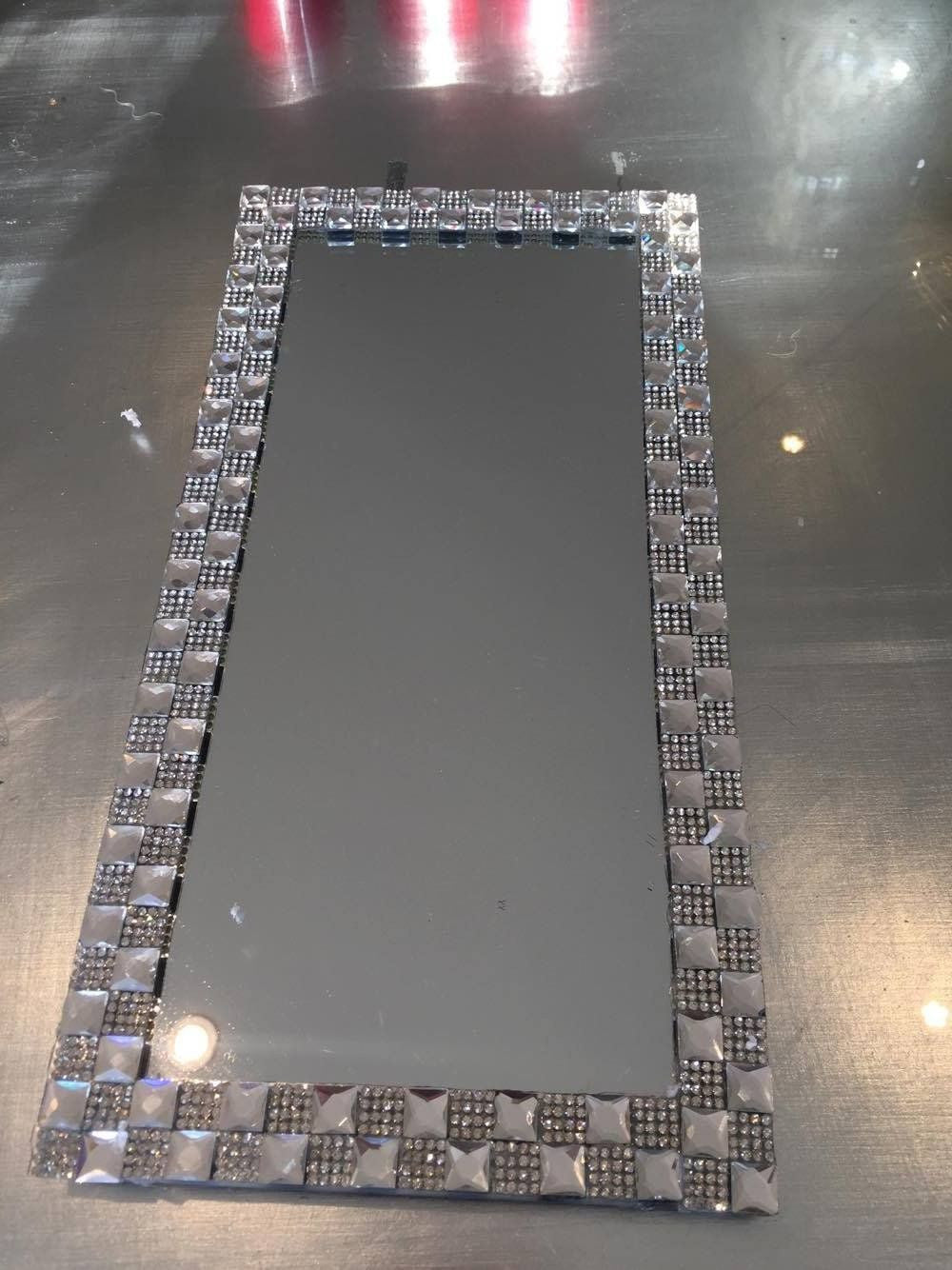 Large Silver Chequered Mirrored Placemat - Mirrored furniture - Sparkle Diamond - House of Sparkles