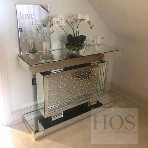 Floating Crystal Rectangle Console Table - Mirrored furniture - Sparkle Diamond - House of Sparkles