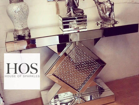 Floating Crystal Mirrored Console Table - Mirrored furniture - Sparkle Diamond - House of Sparkles