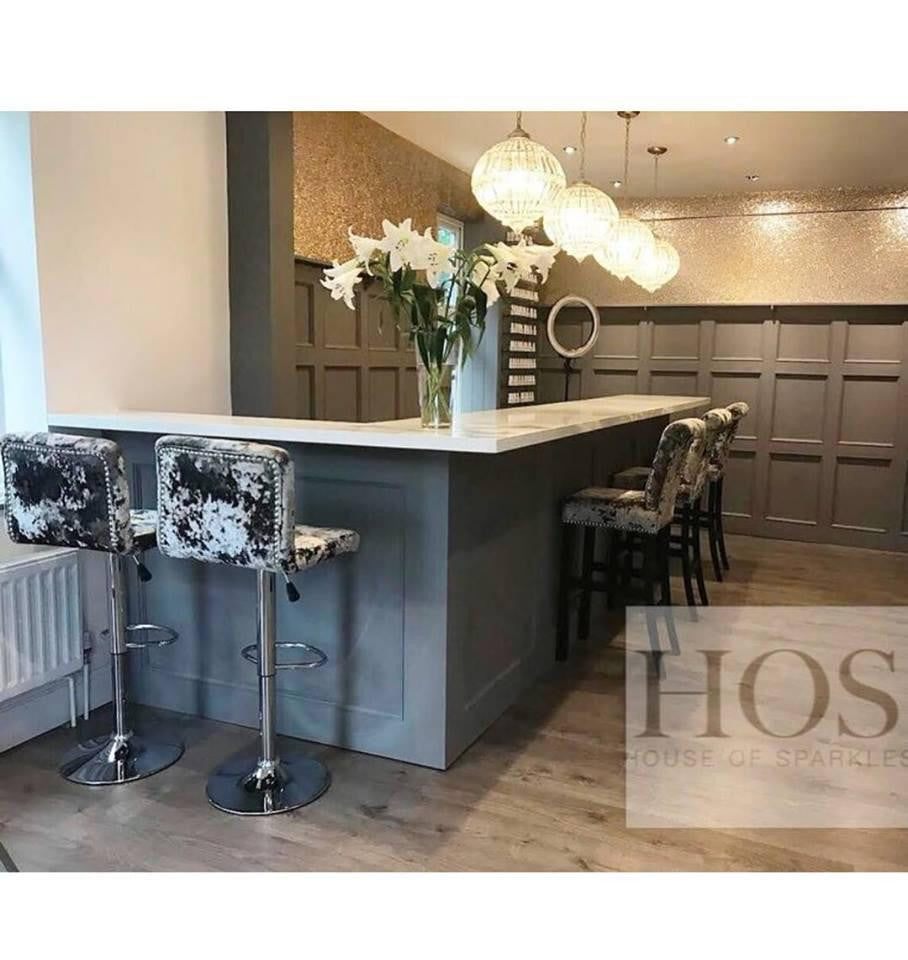 Bespoke Metal Base Bar Stools - Mirrored furniture - Sparkle Diamond - House of Sparkles