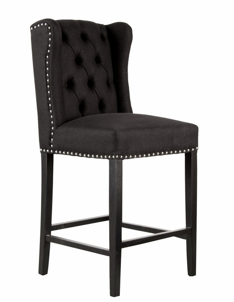 Black Luxury Wingback Bar Stool - Mirrored furniture - Sparkle Diamond - House of Sparkles