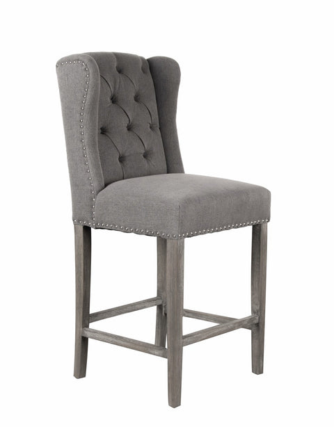 Grey Linen Luxury Wingback Bar Stool