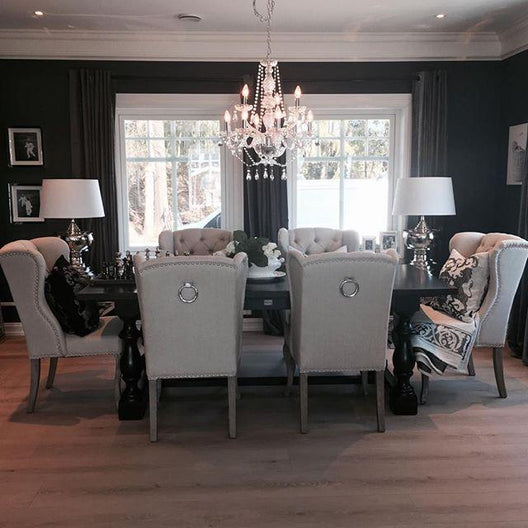 Arlington Dining Set in Black (6-8 Seats) | HOS Home | Mirrored furniture | Affordable Luxury