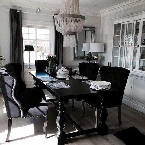 Image of Arlington Dining Set in Black (6-8 Seats) | HOS Home | Mirrored furniture | Affordable Luxury
