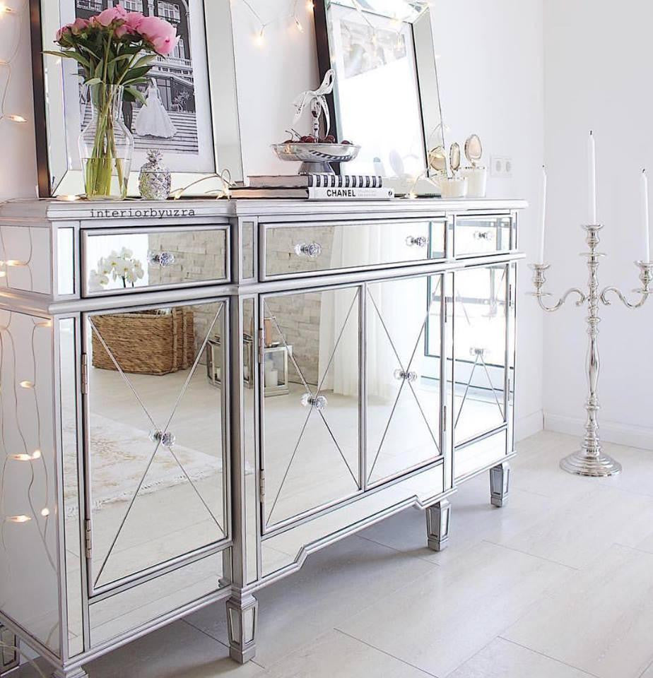 ... Classic Mirror Regency Cabinet With Silver Trim   Mirrored Furniture    Sparkle Diamond   House Of ...