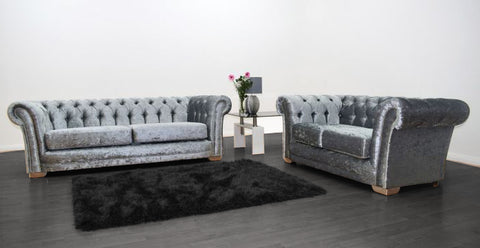 Anna Chesterfield 3 and 2 Seater Sofa in Silver Velvet - Mirrored furniture - Sparkle Diamond - House of Sparkles