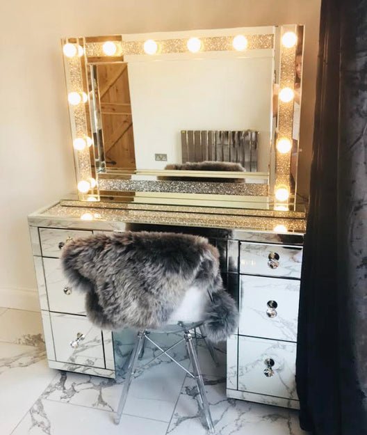 Diamond Crush on Top 7 Drawer Mirrored Dressing Table | HOS Home | Mirrored furniture | Affordable Luxury