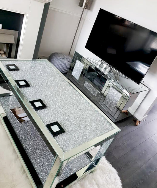 Diamond Crush 2 Tier Mirrored Coffee Table