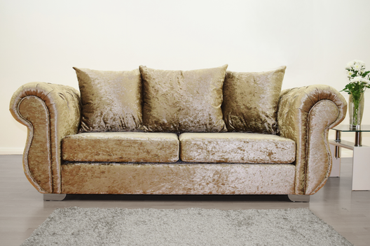 Buckingham 3 Seater Sofa in Mink Velvet | HOS Home | Mirrored furniture | Affordable Luxury