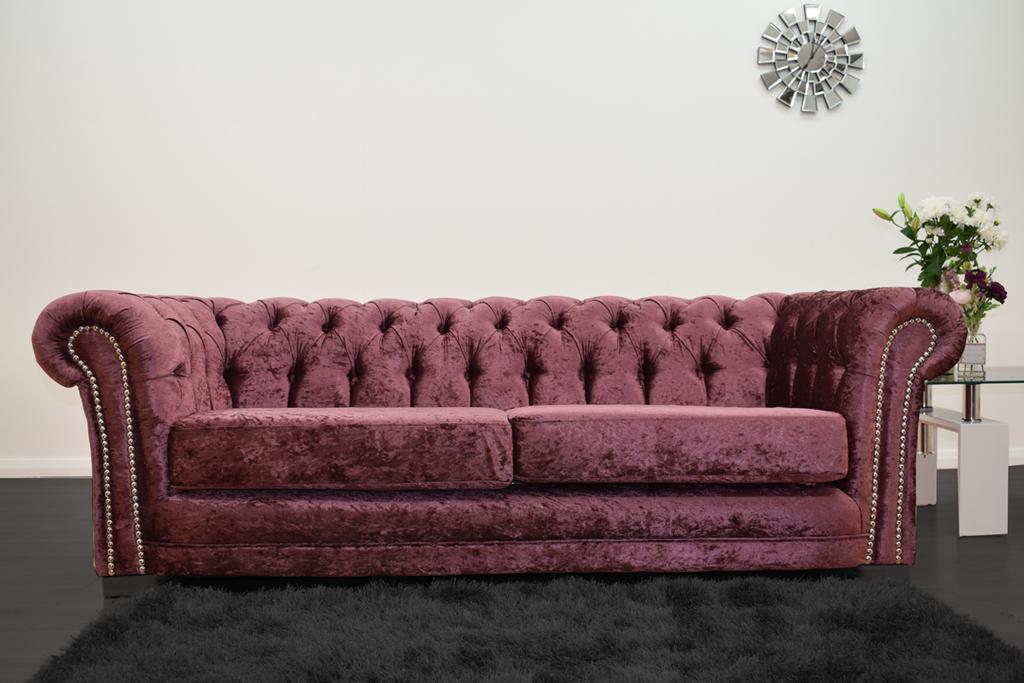 Anna Chesterfield 3 Seater in Mulberry | HOS Home | Mirrored furniture | Affordable Luxury