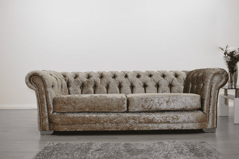 Anna Chesterfield 3 Seater in Mink - Mirrored furniture - Sparkle Diamond - House of Sparkles