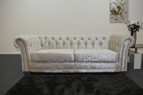 Anna Chesterfield 3 Seater in Cream - Mirrored furniture - Sparkle Diamond - House of Sparkles
