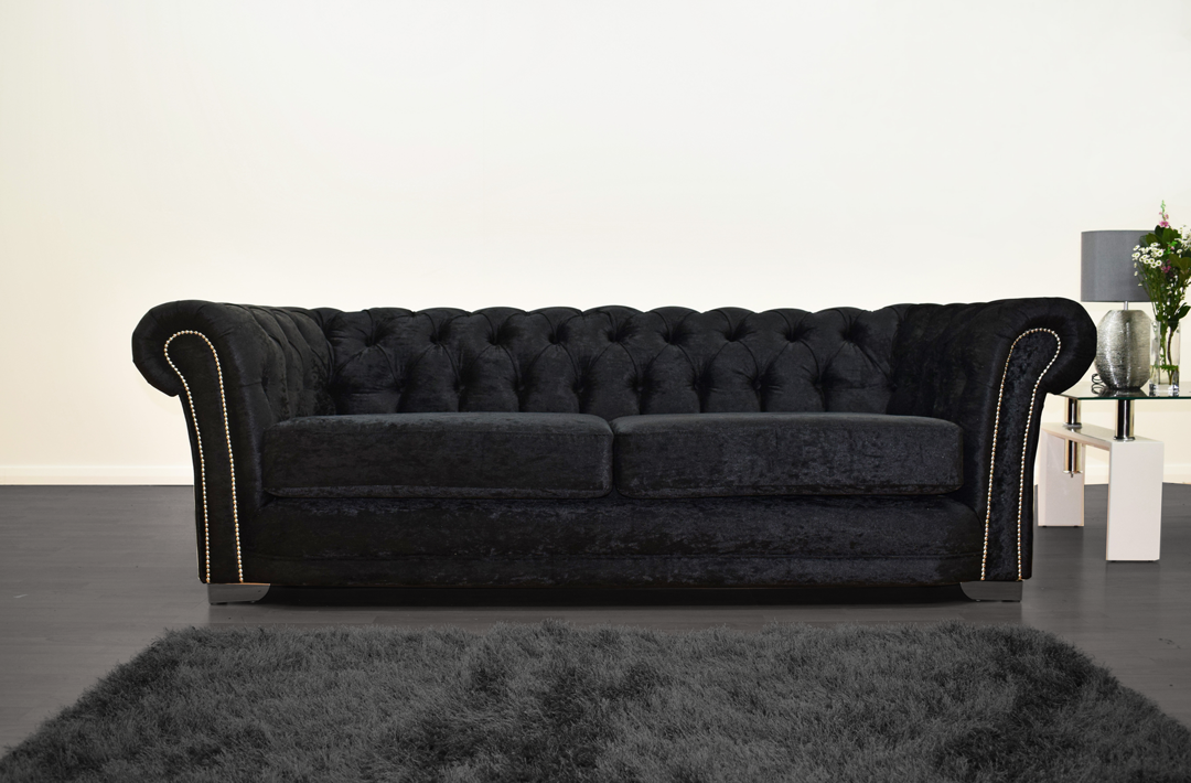 Anna Chesterfield 3 Seater in Black - Mirrored furniture - Sparkle Diamond - House of Sparkles