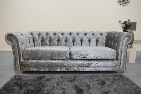 Anna Chesterfield 3 Seater in Silver - Mirrored furniture - Sparkle Diamond - House of Sparkles