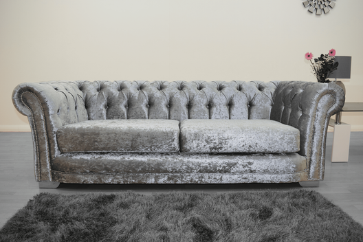 Anna Chesterfield 3 Seater in Silver | HOS Home | Mirrored furniture | Affordable Luxury