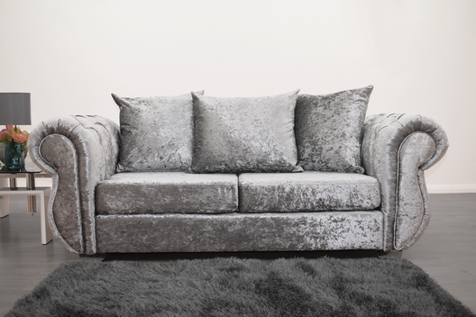 Buckingham 3 Seater Sofa in Silver Velvet | HOS Home | Mirrored furniture | Affordable Luxury