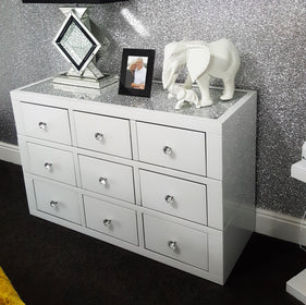 White Mirror Crush 9 Drawer Mirrored Chest of Drawers