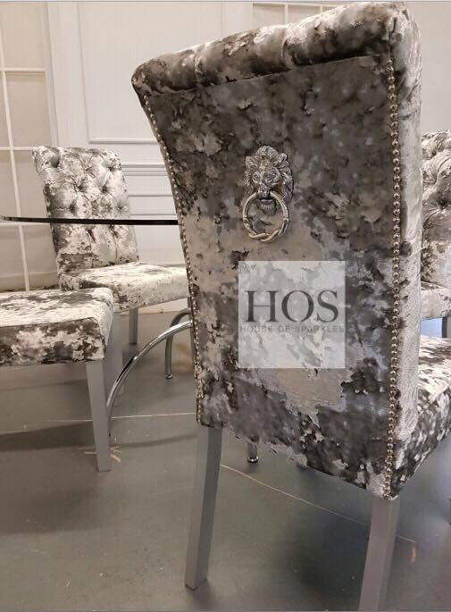 Arabella Dining Set with 6 Luxury Bespoke Dining Chairs - Mirrored furniture - Sparkle Diamond - House of Sparkles