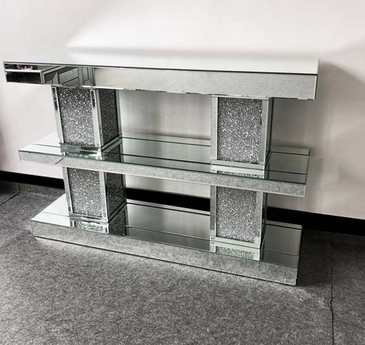 Diamond Crush Shelved Mirrored Console Table